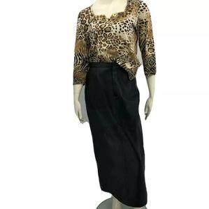 Vtn Vakko Women's 8 Black Leather Pencil Skirt